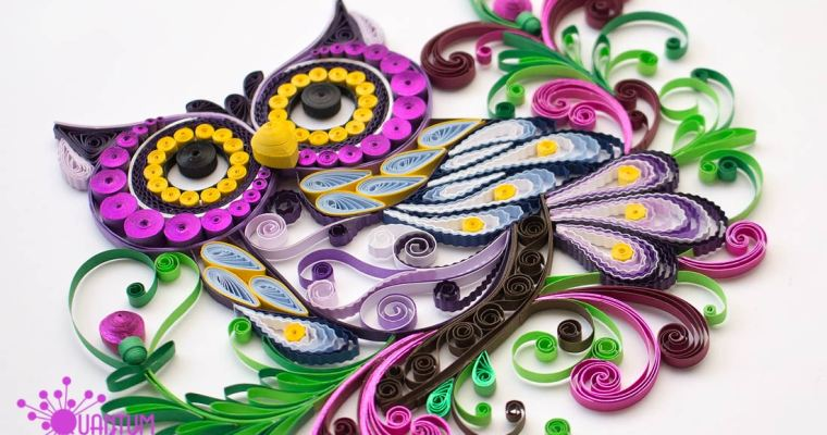 Quilled Whimsical Purple Owl