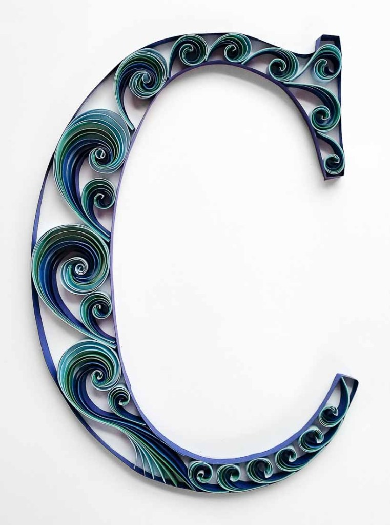Quilled Blue Scrollwork Monograms | Letter C
