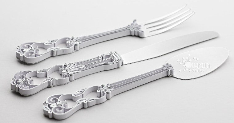 Paper Quilled Realistic Silverware