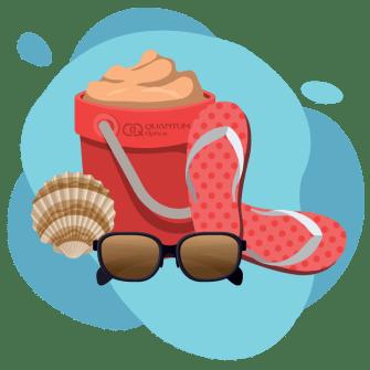 Quantum - sandalias rojas, junto con lentes y arena
