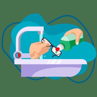 Quantum - manos limpiando unas gafas