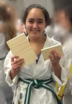 Vivian with her broken board