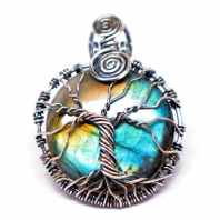 Rainbow Labradorite - Tree of Life Amulet (Front)
