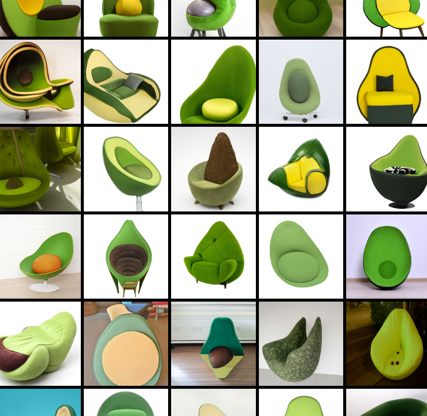 Images from the prompt 'an armchair in the shape of an avocado. An armchair imitating an avocado'. Image from source below.