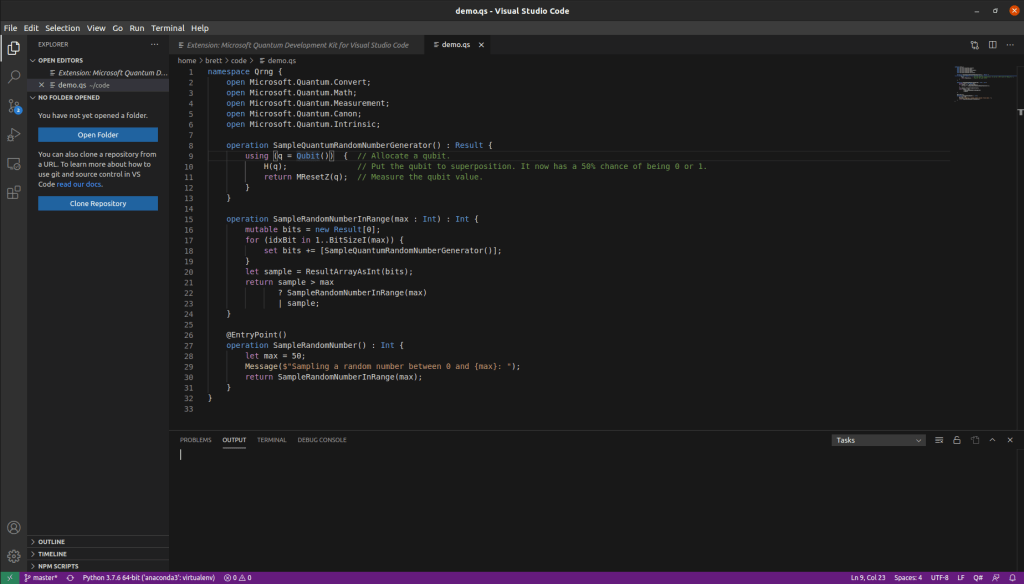 Running Q# code in Microsoft's Visual Studio Code IDE which allows the integration of simulators to run the Q# code.