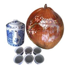 Bình Ủ Trà Trái Dừa Hoa Văn Nhành Đào Và Bình Trà 700 – 950ml – [Quà Quê Dừa]