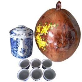 Bình Ủ Trà Trái Dừa Hoa Văn Nhành Mai Và Bình Trà 700 – 950ml – [Quà Quê Dừa]