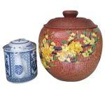 Bình Trà Gỗ Dừa Gọn Đẹp Hoa Văn Hoa Mai, Hoa Đào Và Bình Trà 700 – 950ml – [Quà Quê Dừa]