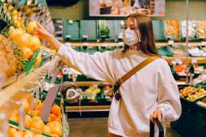 grocery shopping with mask during Covid outbreak