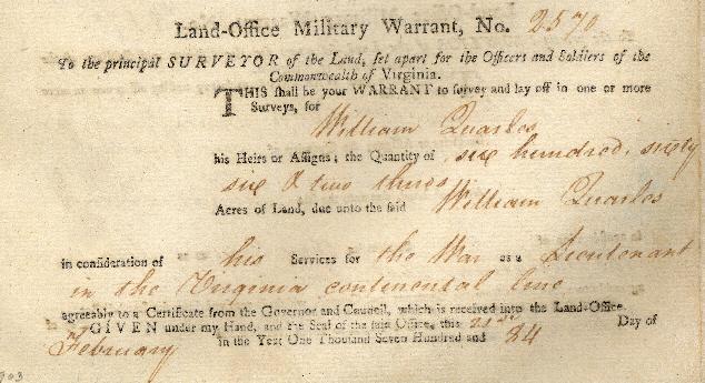William P Quarles Land Warrant