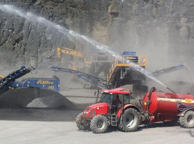 Lisduff Quarry, Errill, Co Laois Dust Suppression Unit during Aggregate production