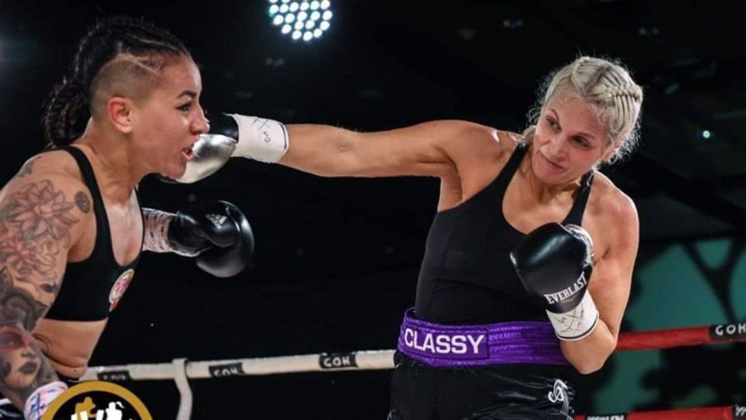 Claire Hafner '99 in competition as a professional boxer.