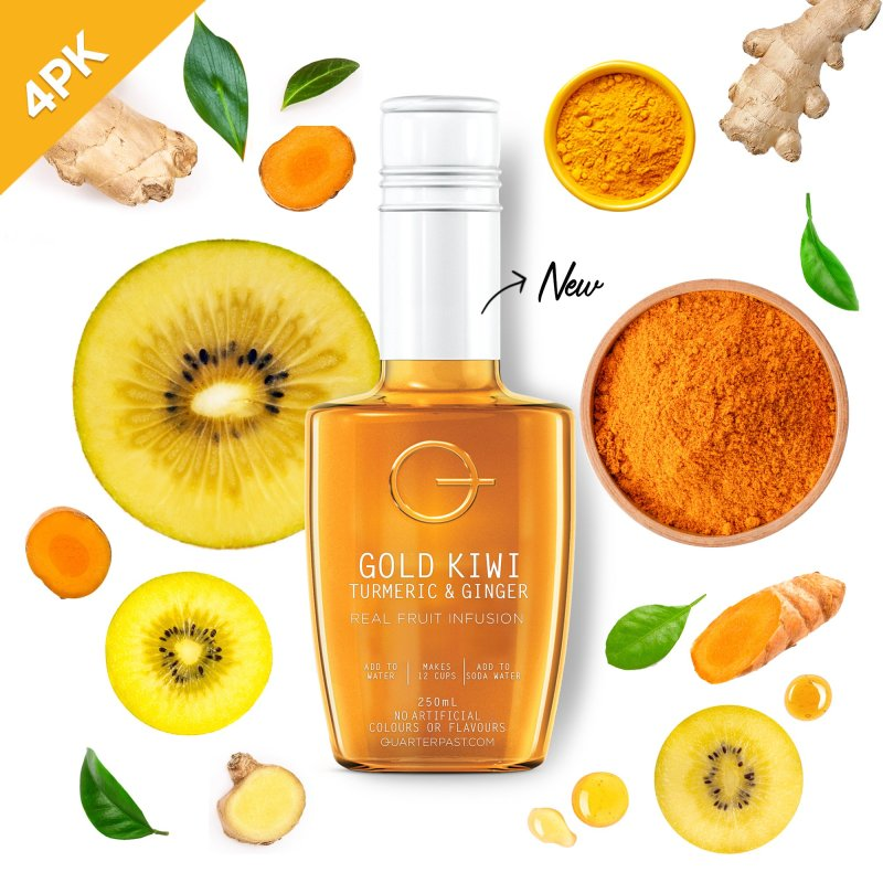 QUARTERPAST Gold Kiwi Turmeric & Ginger 250mL bottle with real ingredients in the background