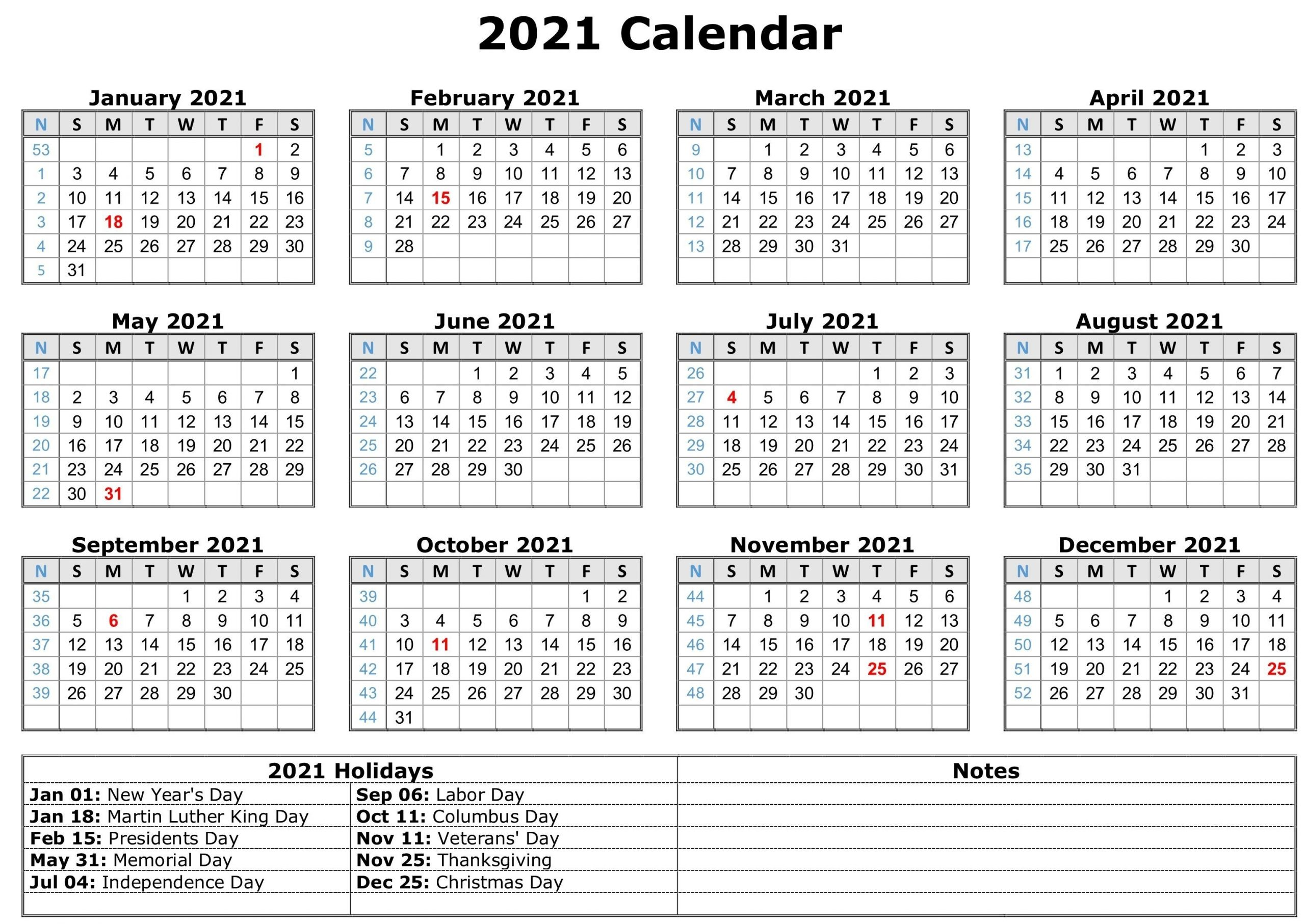 Yearly 2021 calendar with marked federal holidays (us) and common observances in portrait format. Universal Labor Day 2021 Calendar   Get Your Calendar ...