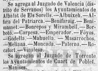 Noticia sobre la anexión de Quart al Juzgado de Torrente (13 julio de 1867)