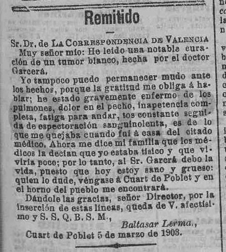Carta del quartero Baltasar Lerma al Dr. Garcerá (5 de Marzo 1903).