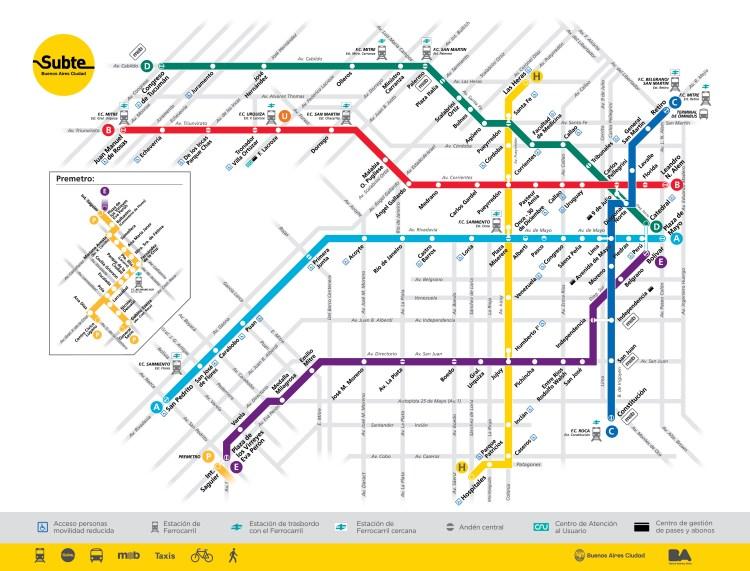 Mapa atualizado das linhas de metrô em Buenos Aires.