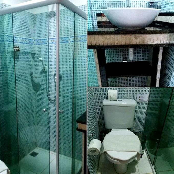 Banheiro da Pousada Bahia Inn em Morro de SP - Bahia