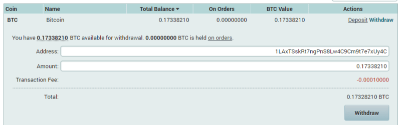 QUE.com.Poloniex.Bitcoin.Withdraw