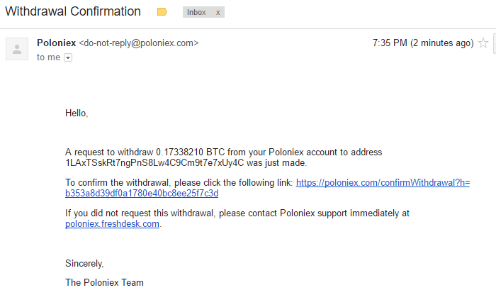 QUE.com.Poloniex.Bitcoin.Withdraw.twofactorauthentication.confirmation.email