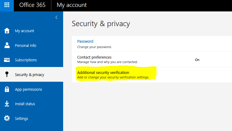 QUE com HOWTO – Office 365 Additional Security Verification