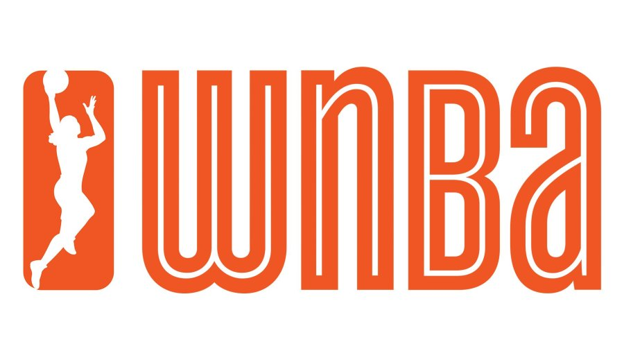 The new WNBA logo in 2013 is a woman laying up a ball in a bright Fire orange color