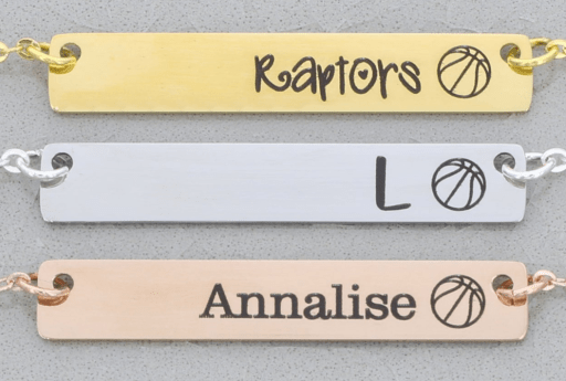 Personalized basketball bracelet gift featuring a custom name and font