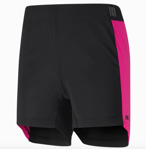 Puma comfortable women's basketball shorts in black and pink
