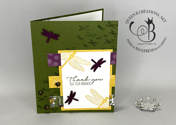 Stampin' Up! Dragonfly Garden Dandy Garden handmade card by Lisa Ann Bernard of Queen B Creations