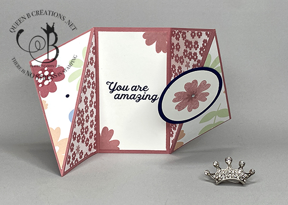 Stampin' Up! Paper Blooms mini twisted gatefold card by Lisa Ann Bernard of Queen B Creations