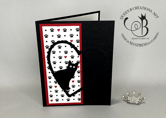 Stampin' Up! Playful Pets Cat Punch Stitched Be Mine Dies handmade card by Lisa Ann Bernard of Queen B Creations