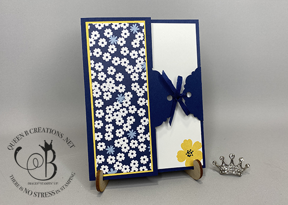 Stampin' Up! handmade card with Tag Topper Punch closure by Lisa Ann Bernard of Queen B Creations