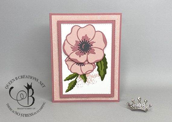 Stampin' Up! Peaceful Moments Painted Poppies handmade birthday card by Lisa Ann Bernard of Queen B Creations angle
