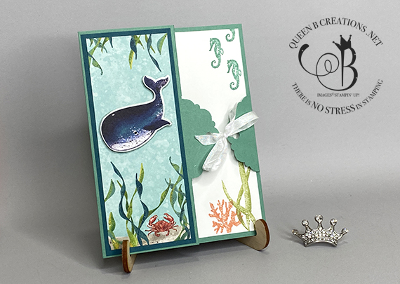 Stampin' Up! Whale Done Whale of a Time handmade thank you card portrait by Lisa Ann Bernard of Queen B Creations
