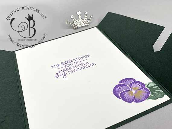 Stampin' Up! Sliding Lock Pansies Thank You Card by Lisa Ann Bernard of Queen B Creations