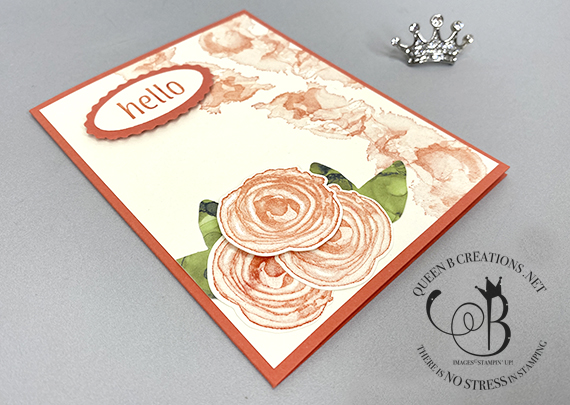 Stampin' Up! Artistically Inked Hello in Calypso Coral by Lisa Ann Bernard of Queen B Creations
