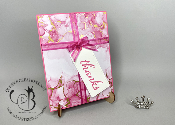 Stampin' Up! Expressions in Ink wrapped package card with ribbon and thanks tag by Lisa Ann Bernard of Queen B Creations
