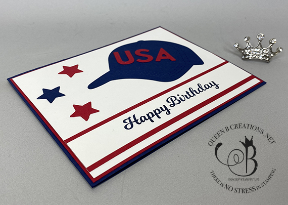 Stampin' Up! Hats Off Lighthearted Lines Happy Birthday card by Lisa Ann Bernard of Queen B Creations