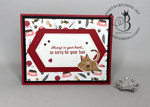 Stampin' Up! Pampered Pets cat sympathy card by Lisa Ann Bernard of Queen B Creations