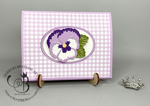 Stampin' Up! Pansy Patch Pop Up Flip card new 2021-2023 In Color Fresh Freesia by Lisa Ann Bernard of Queen B Creations