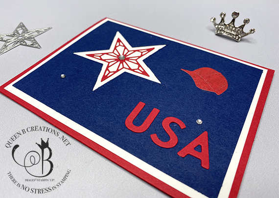 Stampin' Up! Playful Alphabet Dies USA Stitched Stars 4th of July handmade card by Lisa Ann Bernard of Queen B Creations