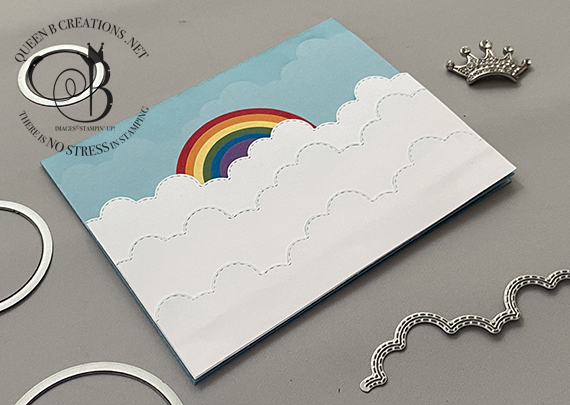 Stampin' Up! Basic Borders and Layering Circles Dies rainbow in the clouds card by Lisa Ann Bernard of Queen B Creations