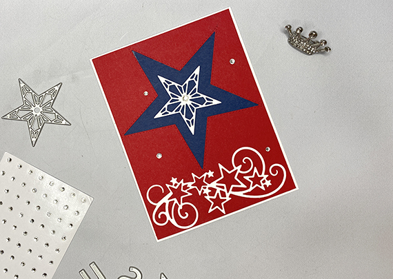 Stampin' Up! inlaid Stitched Stars 4th of July handmade card by Lisa Ann Bernard of Queen B Creations