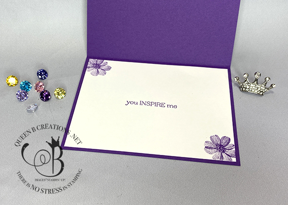 Stampin' Up! Delicate Dahlias thank you card heat embossed in silver by Lisa Ann Bernard of Queen B Creations