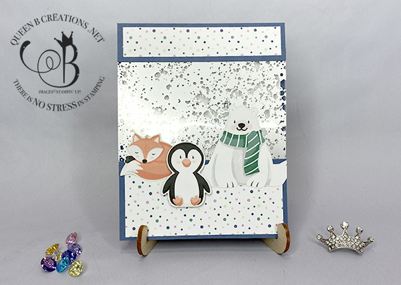 Stampin' Up! Penguin Playmates with Mercury Glass Acetate card by Lisa Ann Bernard of Queen B Creations