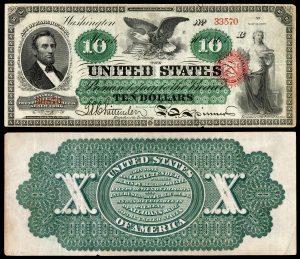 U.S. Currency - Greenbacks - 1863 - 10 Dollars