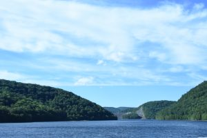 View from the Charles A. Goodwin Dam of the Colebrook River Reservoir. The water level is down due to a drought. (Photograph by Stephanie C. Fox)