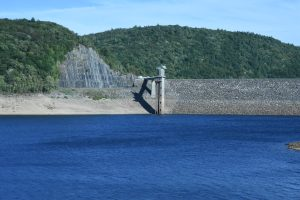 A close-up view of the north side of the dam, with its MDC apparatus exposed. (Photograph by Stephanie C. Fox)