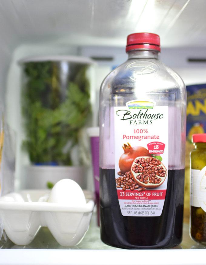 Pomegranate juice bottled