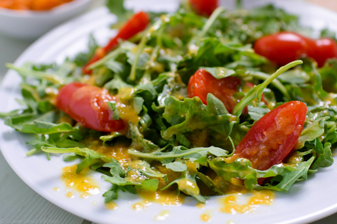 Pumpkin vinaigrette on arugula
